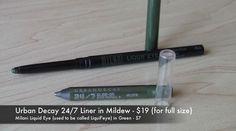 Urban Decay 24/7 Liner in Mildew - Milani Liquid Eye Pencil in Green