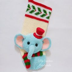 PATTERN -Elephant Christmas Stocking - Crochet Pattern, pdf by LittleBambooHandmade on Etsy
