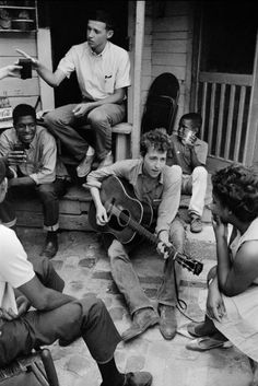 Danny Lyon     Bob Dylan Playing on the Back Porch of the Student Non-Violent Coordinating Committee Office, Greenwood, Mississippi     1963