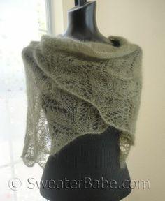 #151 Samantha Featherweight Lace Shawl PDF Knitting Pattern #SweaterBabe.com #knitting