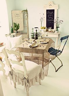 soft and rather shabby chic cottage decor with translucent burlap tablecloth, via good life of design blog