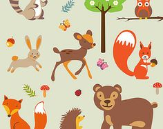 Clip art, digital FOREST ANIMALS, very cute forest animals clip art, 12 x12 inch in 300dpi RGB photoshop jpeg, png and pdf format.
