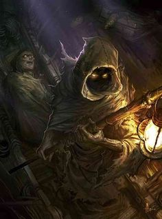 """Cover for Dungeon Magazine 148~  Went for a slight more detail and moody approach this time~  """"Charon, the boatsman on the river Styx. The black water moves slowly as he stands in a creepy boat, one hand holding the pole he uses to propel the boat though the river in one withered hand. A creepy lantern hangs from  the top of the pole.  A dead body wrapped in funeral shroud but with the face revealed. Two gold coins sit on the dead body's eyes."""""""