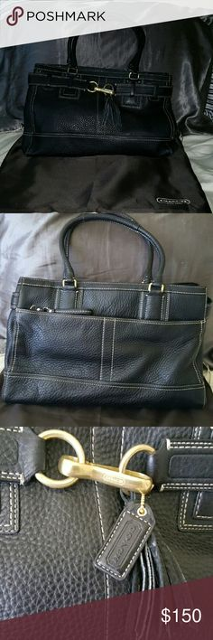 Authentic Coach Black Leather Tote Satchel Purse Authentic Coach Black Leather Tote or Satchel Purse Like New. Comes with original storage bag. Like New Coach Bags Satchels