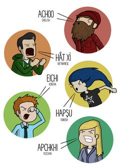 How to Sneeze in Different Languages - http://dashburst.com/humor/how-to-sneeze-in-different-languages/