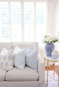 Buy Pillows, Blue Throw Pillows, Designer Throw Pillows, Decorative Throw Pillows, Living Room Sets, Living Room Decor, White Family Rooms, Fall Bedroom, Pretty Bedroom