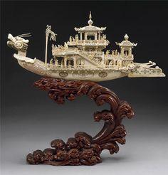 象牙船 (2), Art Ivory boat.