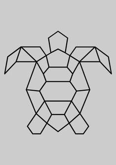 Geometric Drawing, Geometric Shapes, Geometric Animal, Simple Geometric Designs, Geometric Origami, Art Drawings Sketches, Easy Drawings, Doodle Drawings, Tape Art