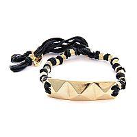 Black Knotted Vintage Ribbon Adjustable Bracelet with Gold Pyramid Row Charm #ettika #rocker #rockandroll #jewelry #accessories #black