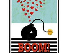 BOMBE amour Illustration Art Print Wall Art cadeau décor Poster Affiche Decor Home décor art Pop