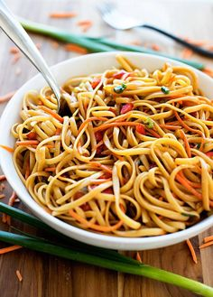Serves 6 Ingredients 8 ounces Linguine pasta 2 green onions, sliced 1 cup matchbox carrots...