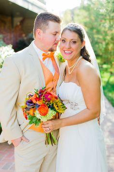 Zesty orange waterfront wedding at Harbour View in Northern VA | Megan Kelsey Photography