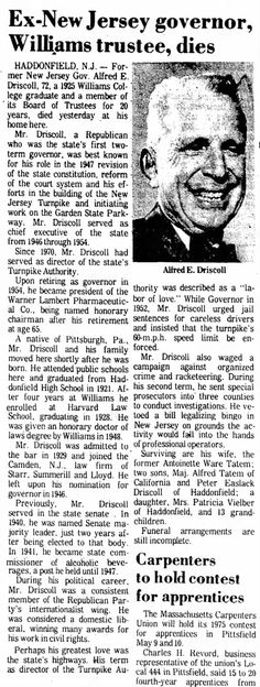 Death of Alfred Driscoll, NJ governor who built NJ Turnpike and started Garden State Parkway. Berkshire Eagle in Pittsfield, Massachusetts, March 10, 1975 Image: Newspapers.com