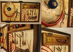 "Assemblage Art--""Elements of the Game""--Encaustic, Found Objects, Ink, and Oil--Kathy Moore www.kathymooreart.com"