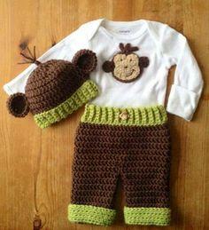 Resultado de imagen para crochet monkey outfit for baby Crochet Monkey, Crochet Baby Beanie, Baby Afghan Crochet, Crochet Baby Clothes, Crochet For Boys, Cute Crochet, Knit Crochet, Crochet Hats, Crotchet