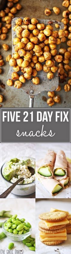 """Five 21 Day Fix Snacks - Sometimes it can feel like you eat the same boring things over and over again; these yummy snacks are perfect to bring some variety and spice to your life! <a href=""""http://TheGarlicDiaries.com"""" rel=""""nofollow"""" target=""""_blank"""">TheGarlicDiaries.com</a>"""