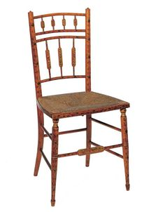 Exceptionnel American Federal Paint Decorated Fancy Side Chair   Possibly Salem,  Massachusetts   Circa 1800