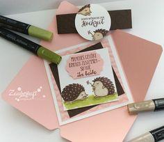 Zauberhaft-handgemacht: Hochzeitskarte im Umschlag, Hochzeit, Hedgehugs, SU, Stampin Blends