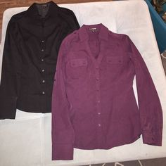 Express dress shirt bundle 2 Express collared dress shirts. Button up the front. Purple and black. Purple has beast pockets, slightly more casual look. Both are XS. Express Tops Button Down Shirts