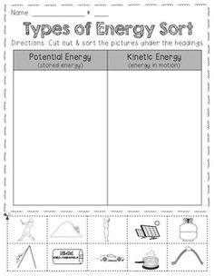 Potential or Kinetic Energy Worksheet | Gr8 | Pinterest | Awesome ...