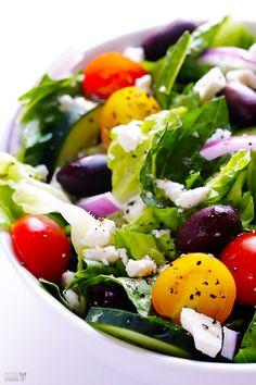 Wendi Hamel via Just Eat Clean Food Greek Salad with Garlic-Lemon Vinaigrette #GimmeSomeOven