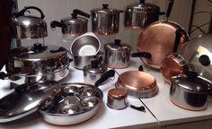 Vtg 50s REVERE WARE 33 Pc SS Copper Clad Cookware Set USA Rare #RevereWare #VintageCookwareSet