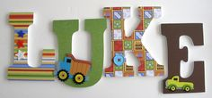 Custom Decorated Wooden Letters CONSTRUCTION Theme- Nursery Bedroom Home Décor, Wall Decorations, Wood Letters, Personalized. $ 20, via Etsy.
