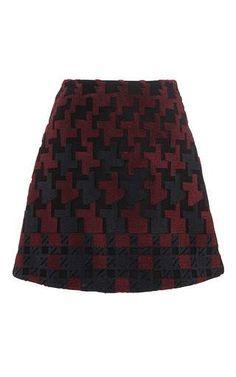 Wool burgundy mac embroidered mini skirt by MARY KATRANTZOU Now Available on Moda Operandi
