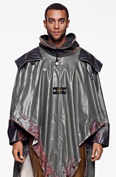 The Brand : Stone Island Corporate cotton canvas with a thick matte PVC coating and latex detailing. Mens Cape, Stone Island Clothing, Armor Clothing, Mens Boots Fashion, Men Fashion, Androgynous Fashion, Androgyny, Cool Jackets, Rain Wear