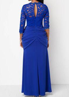 Keyhole Back Ruched Royal Blue Lace Yoke Dress | liligal.com - USD $38.69