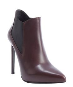 Saint Laurentburgundy leather and elastic gusset stiletto ankle booties