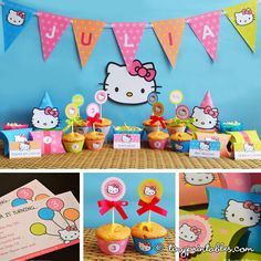 Hello Kitty party printable banner, cupcake topper, invites
