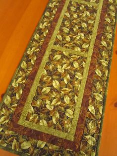 Fall Handmade Table Runner Quilted Leaves | Patchwork Mountain