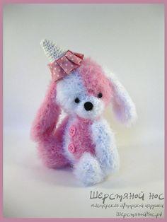 "Зайка ""Клубничное мороженное"" #teddy #teddybears #handmade #toys #teddybears #presents #knitting"