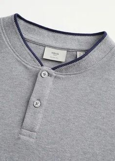 Casual line Cotton fabric Mao neckline Short sleeve Contrasting stripe finish Elastic finish Cable knit finish Mens Polo T Shirts, Henley Shirts, Mens Tees, Polo Design, New T Shirt Design, Dope Outfits For Guys, Menswear, Men's Polo, Polo Tees