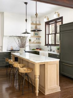 Home Interior Ideas In This Year-Long Kitchen Renovation Green Is a Neutral.Home Interior Ideas In This Year-Long Kitchen Renovation Green Is a Neutral Long Kitchen, Kitchen Dining, Kitchen Decor, Kitchen Ideas, Decorating Kitchen, Kitchen Trends, Kitchen Island, Kitchen Sink, Farmhouse Style Decorating