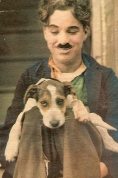 Charlie Chaplin with his dog