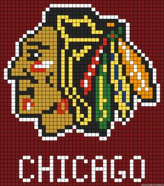 Alpha friendship bracelet pattern added by blackhawks hawks chicago hockey american face feathers. Bead Loom Patterns, Perler Patterns, Beading Patterns, Cross Stitch Patterns, Pixel Art, Cross Stitching, Cross Stitch Embroidery, Sports Quilts, Beaded Banners