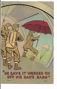 Vintage Paratrooper Post Cards Aviation Comic Unused World War II Military Humor
