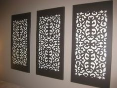 Wall canvas decor made from rubber mats! SCORE. Supplies Needed:     Art Canvas', Paint or Spray Paint, Rubber doormat, Painter's Tape, Attachment that turns a spray can into a spray gun.