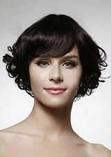 Fabulous Curly 8 Inch #3 Layered Full bangs Human Hair Lace Front Wig