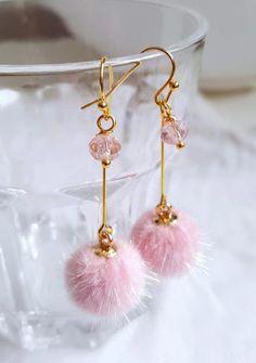 37cd3cd91 Faux Fur Pom Pom Gold Plated Earrings - Pink - Dangle Earrings - Earrings -  Handmade