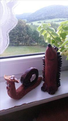 šneček a ježeček z keramiky