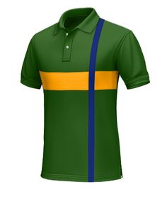 Brazil Men's Polo Shirt - Wear this polo as the Seleção fight for honor and glory to win their 6th World Cup.  Made from 100% cotton. This predominantly green polo has a horizontal yellow stripe across the chest. Along the left shoulder a vertical blue line is present to add flair.  http://www.tailor4less.com/en/collections/custom-polo-shirts/world-cup-polo-collection/brazil-mens-polo-shirt