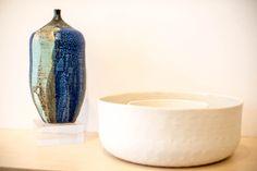 Left: Dennis Swartzlander- Vase ($90)  Right: Abigail Murray- Dots Small Bowl ($38) Dots Large Bowl ($55)  www.annarborartcenter.org