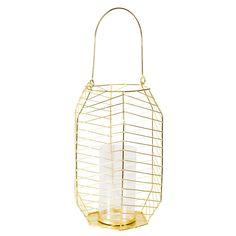 Lanterne filaire en verre et métal doré   Maisons du Monde