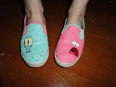 Custom painted slip-on shoes. Patrick and Squidward