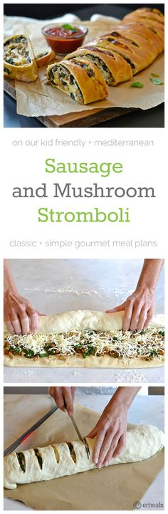 One of our FAVORITE kitchen secrets is store-bough pizza dough. Use it to create this awesome, super-easy Sausage and Mushroom Stromboli recipe from eMeals