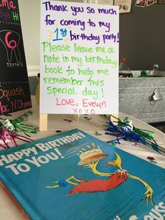 "We used Dr. Suess's ""Happy Birthday To You!"" as a guest book so everyone could leave a sweet message to the birthday girl!"