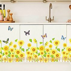 815 wallpark beautiful yellow sunflower butterfly corner baseboard removable wall sticker decal living room bedroom - Diy Entfernbarer Backsplash